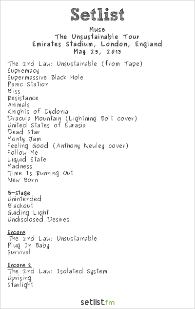 Muse Setlist Emirates Stadium, London, England 2013, The Unsustainable Tour