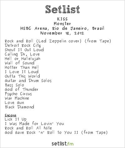 KISS Setlist HSBC Arena, Rio de Janeiro, Brazil 2012, Monster Tour