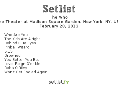 The Who Setlist Teen Cancer America Benefit 2013 2013