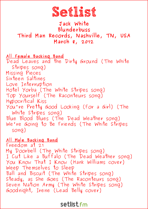 Jack White Setlist Third Man Records, Nashville, TN, USA 2012