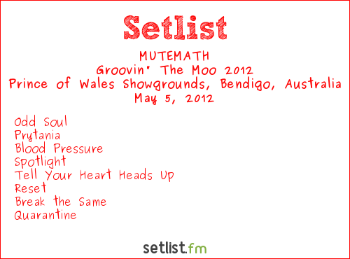 MUTEMATH Setlist Prince Of Wales Showgrounds, Bendigo, Australia, Groovin' The Moo 2012