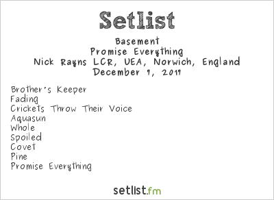 Basement at Nick Rayns LCR, UEA, Norwich, England Setlist