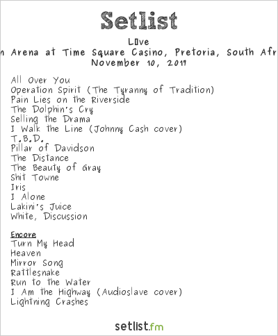 Live Setlist Time Square Sun Arena, Pretoria, South Africa 2017
