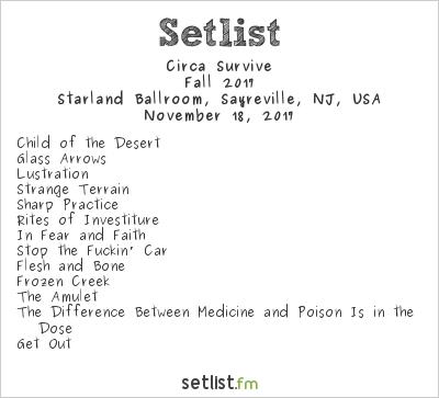 Circa Survive Setlist Starland Ballroom, Sayreville, NJ, USA, Fall 2017