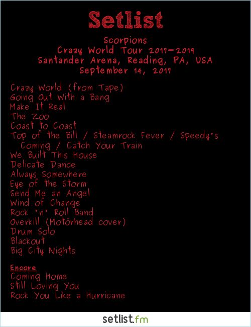 Scorpions Setlist Santander Arena, Reading, PA, USA 2017, Crazy World 2017 Tour