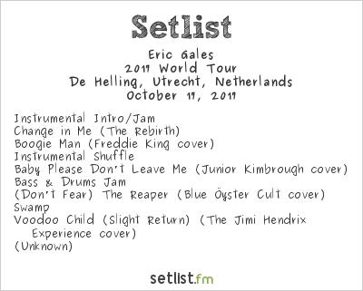 Eric Gales Setlist De Helling, Utrecht, Netherlands 2017, 2017 World Tour