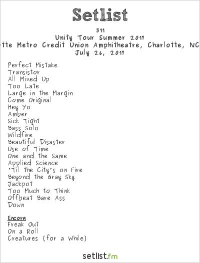 311 Setlist Charlotte Metro Credit Union Amphitheatre, Charlotte, NC, USA, Unity Tour Summer 2017