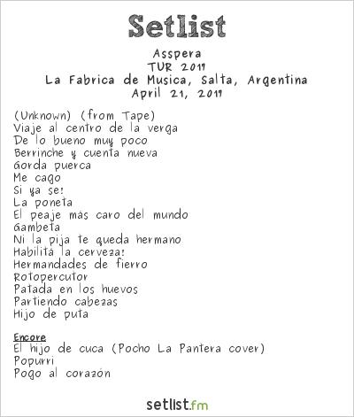 Asspera Setlist La Fábrica de Música, Salta, Argentina, TUR 2017