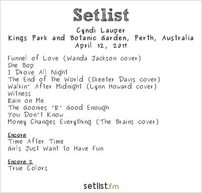 Cyndi Lauper Setlist Kings Park Botanic Gardens, Perth, Australia 2017