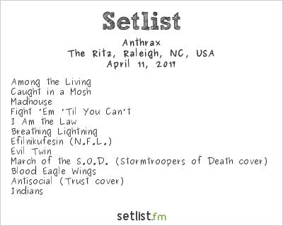 Anthrax Setlist Ritz Theater, Raleigh, NC, USA 2017, Killthrax
