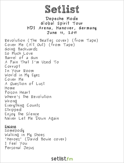 Depeche Mode Setlist HDI Arena, Hanover, Germany 2017, Global Spirit Tour