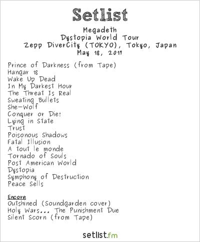 Megadeth Setlist Zepp DiverCity Tokyo, Tokyo, Japan 2017, Dystopia World Tour