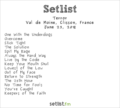 Terror Setlist Hellfest 2018 2018
