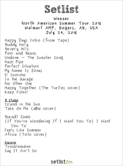Weezer Setlist Walmart AMP, Rogers, AR, USA, North American Summer Tour 2018