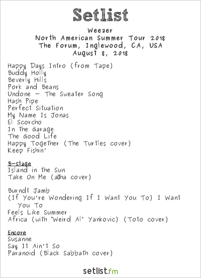 Weezer Setlist The Forum, Inglewood, CA, USA, North American Summer Tour 2018