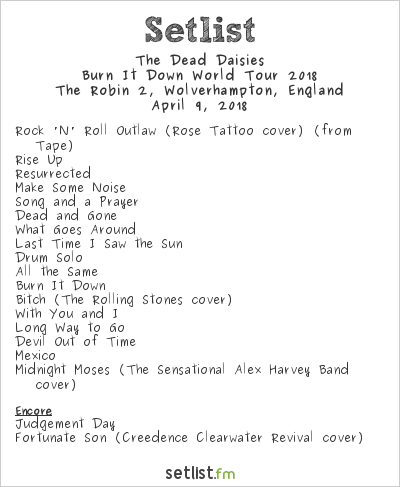 The Dead Daisies Setlist The Robin 2, Wolverhampton, England, Burn It Down World Tour 2018