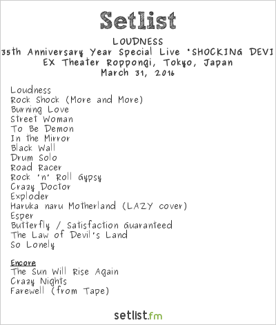 "Loudness Setlist EX Theater Roppongi, Tokyo, Japan 2016, LOUDNESS 35th Anniversary Year Special Live ""SHOCKING DEVIL'S LAND"""