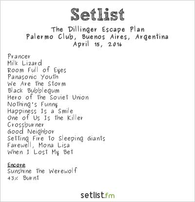 The Dillinger Escape Plan Setlist Palermo Club, Buenos Aires, Argentina 2016