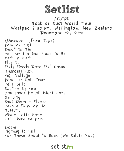 AC/DC Setlist Westpac Stadium, Wellington, New Zealand 2015, Rock or Bust World Tour
