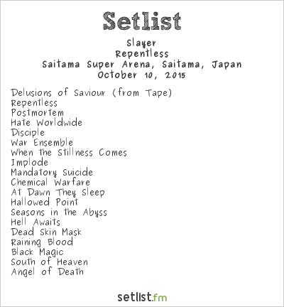 Slayer Setlist Loud Park 2015 2015, Repentless