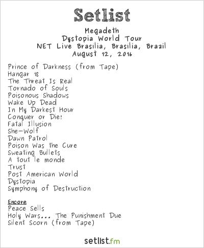 Megadeth Setlist NET Live Brasília, Brasília, Brazil 2016, Dystopia World Tour