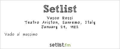 Vasco Rossi Setlist Festival della Canzone Italiana di Sanremo 1982 1982