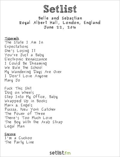 Belle and Sebastian Setlist Royal Albert Hall, London, England 2016