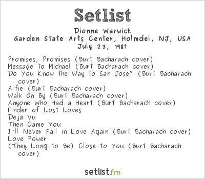 Dionne Warwick Setlist Garden State Arts Center Holmdel