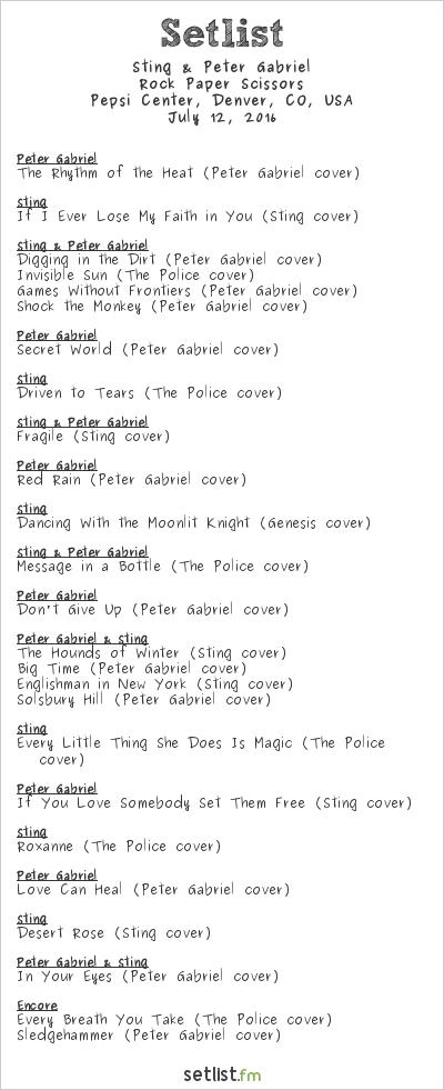Sting & Peter Gabriel Setlist Pepsi Center, Denver, CO, USA 2016, Rock Paper Scissors