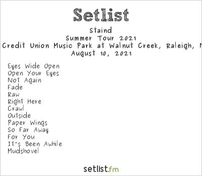 Staind Setlist Coastal Credit Union Music Park at Walnut Creek, Raleigh, NC, USA, Summer Tour 2021
