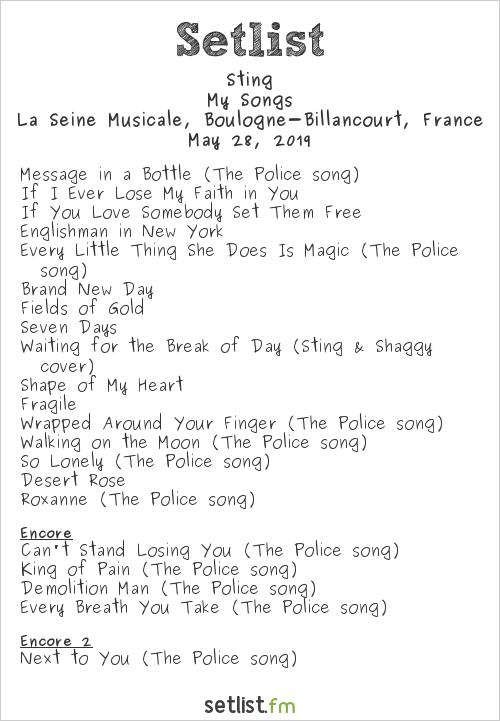 Sting Setlist La Seine Musicale, Boulogne-Billancourt, France, My Songs Tour: International 2019