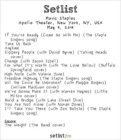 Mavis Staples Setlist Apollo Theater, New York, NY, USA 2019