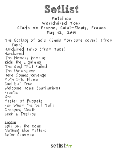 Metallica Setlist Stade de France, Saint-Denis, France 2019, Worldwired Tour
