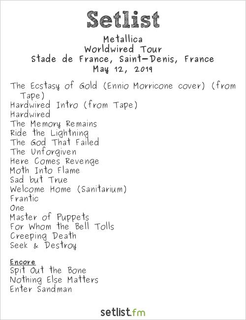 Metallica Setlist Stade de France, Saint-Denis, France 2019, Worldwired Tour