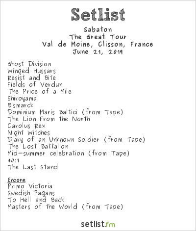Sabaton Setlist Hellfest 2019 2019, The Great Tour