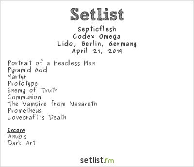 Septicflesh Setlist Lido, Berlin, Germany 2019, Codex Omega