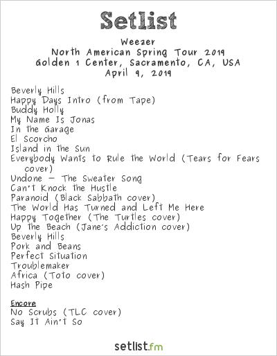 Weezer Setlist Golden 1 Center, Sacramento, CA, USA, North American Spring Tour 2019