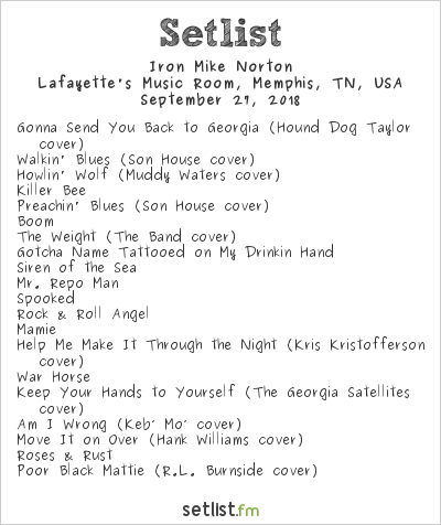 Iron Mike Norton Setlist Lafayette's Music Room, Memphis, TN, USA 2018
