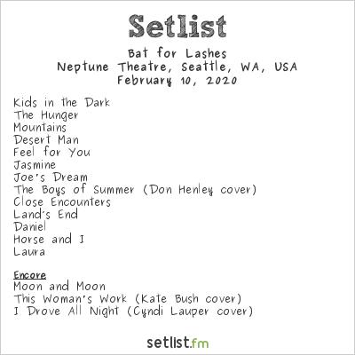 Bat for Lashes at Neptune Theatre, Seattle, WA, USA Setlist