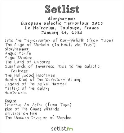 Gloryhammer Setlist Le Metronum, Toulouse, France, European Galactic Terrortour 2020