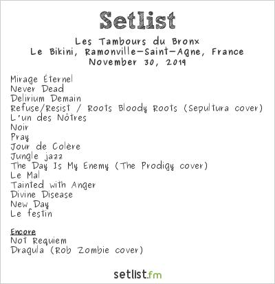 Les Tambours du Bronx Setlist Le Bikini, Ramonville-Saint-Agne, France 2019