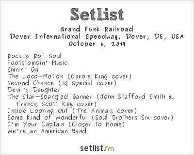 Grand Funk Railroad at Dover International Speedway, Dover, DE, USA Setlist