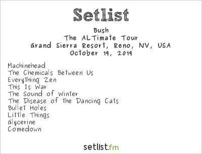 Bush Setlist Grand Sierra Resort, Reno, NV, USA 2019, The ALTimate Tour