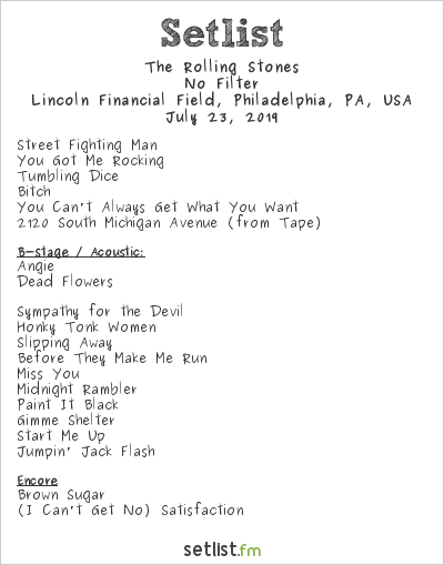 The Rolling Stones Setlist Lincoln Financial Field, Philadelphia, PA, USA 2019, No Filter