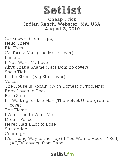 Cheap Trick Setlist Indian Ranch, Webster, MA, USA 2019