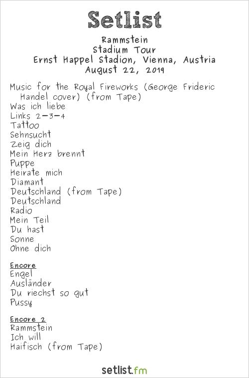 Rammstein Setlist Ernst Happel Stadion, Vienna, Austria, Europe Stadium Tour 2019