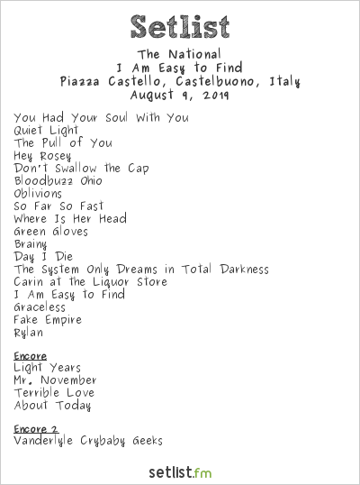 The National Setlist Ypsigrock Festival 2019 2019, I Am Easy to Find