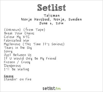 Talisman Setlist Sweden Rock Festival 2014 2014