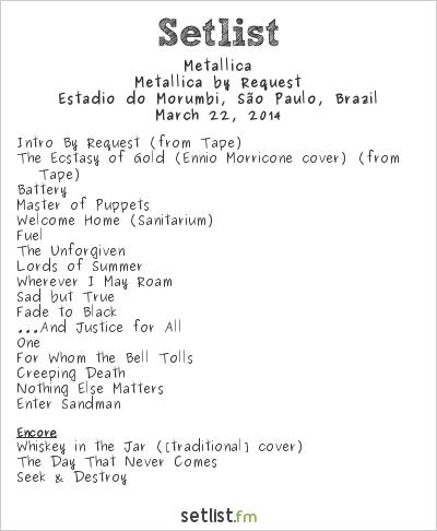 Metallica Setlist Estádio do Morumbi, São Paulo, Brazil 2014, Metallica by Request