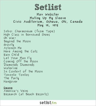 Max Webster Setlist Civic Auditorium, Oshawa, ON, Canada 1978